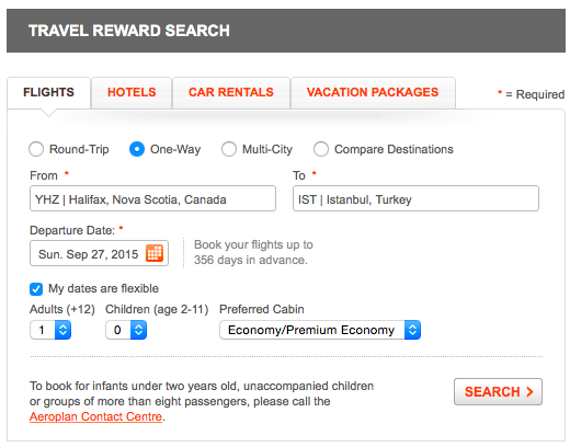 Aeroplan search