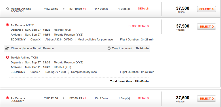 Aeroplan itinerary - details view