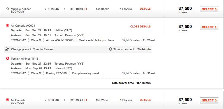 Aeroplan itinerary - details view