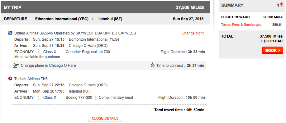 Aeroplan itinerary without fuel surcharges