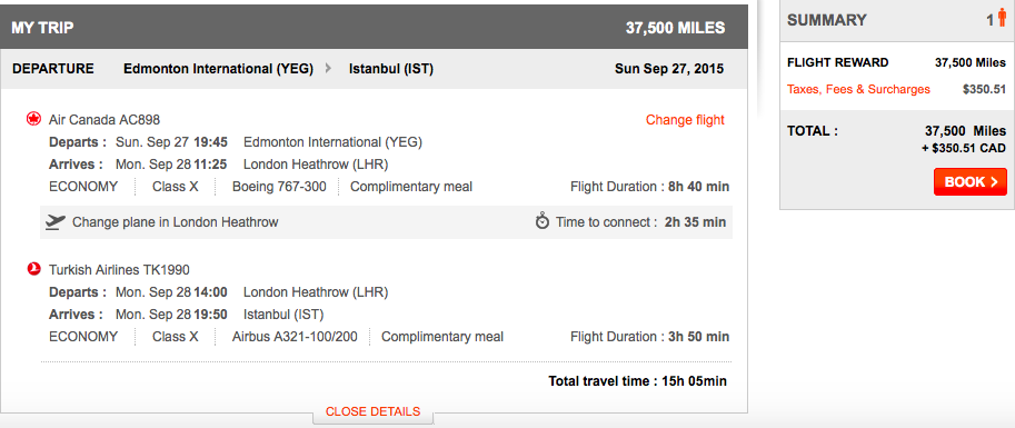 Aeroplan itinerary with high fuel surcharges
