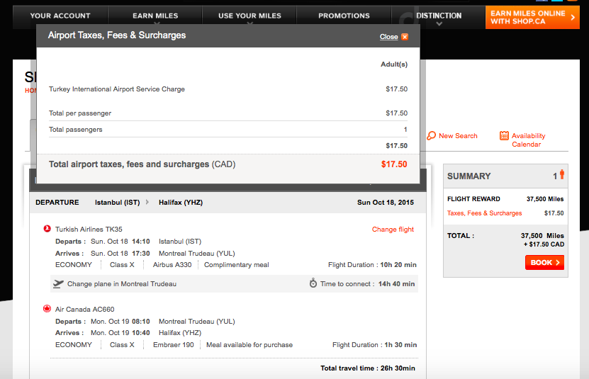 Aeroplan itinerary with no fuel surcharges
