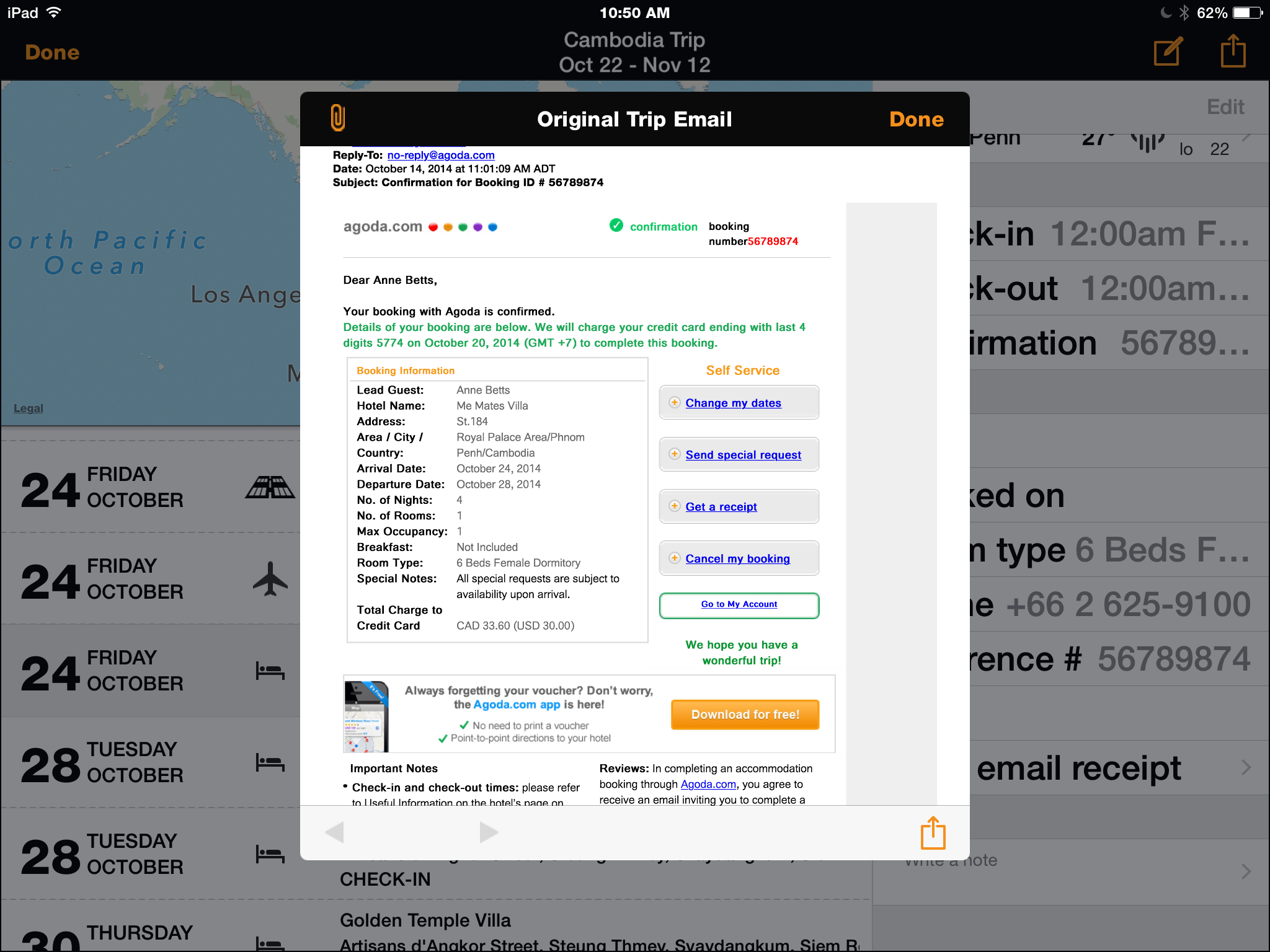 Kayak includes original booking confirmation in itinerary app
