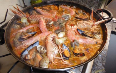 Delicious seafood paella in Barcelona