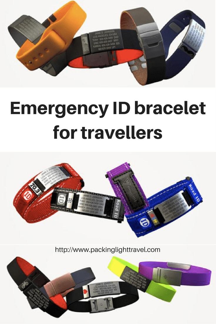 Emergency ID bracelet for travellers - Packing Light Travel