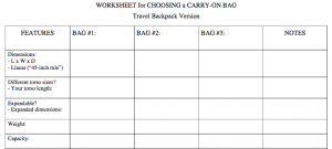 Worksheet for comparing carry-on bags
