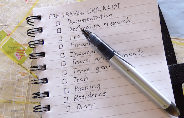 how to create a pre-travel checklist